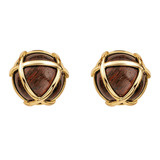 &quot;Caged&quot; Cocobola Wood &amp; 18k Gold Earclips