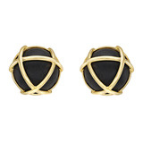 """Caged"" Ebony Wood & 18k Gold Earclips"
