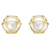 &quot;Caged&quot; Mabe Pearl &amp; 18k Gold Earclips