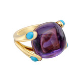 """Candy"" Amethyst Ring with Turquoise"