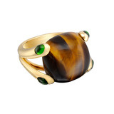 &quot;Candy&quot; Tiger&#039;s Eye Ring with Chrome Tourmaline