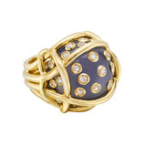 "Chalcedony & Diamond ""Polka Dot"" Ring"