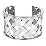 """Criss Cross"" 18k White Gold Cuff Bracelet"