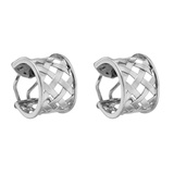 "18k White Gold ""Criss Cross"" Hoop Earrings"