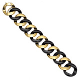18k Yellow Gold & Black Jade Curb-Link Bracelet
