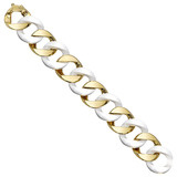 18k Yellow Gold & White Ceramic Curb-Link Bracelet