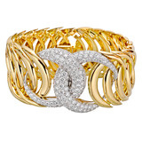 &quot;Double Crescent&quot; 18k Gold &amp; Diamond Cuff Bracelet
