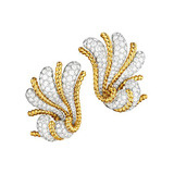 "18k Gold, Platinum and Diamond ""Fan"" Earrings"