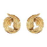 18k Gold Feather Earclips