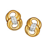 "18k Yellow Gold & Diamond ""Figure Eight"" Earclips"