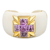 &quot;Five Stone&quot; Lavender Amethyst &amp; Mammoth Ivory Cuff