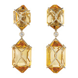 """Herkimer"" Citrine Drop Earrings"