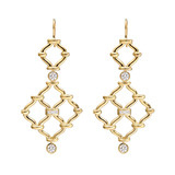 &quot;Kensington&quot; 18k Gold Drop Earrings with Diamond