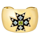 Maltese Cross Blue Topaz &amp; Peridot Cuff Bracelet