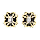 Maltese Cross White Topaz &amp; Black Enamel Earrings