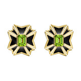 Maltese Cross Peridot & Black Enamel Earrings