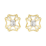 Maltese Cross White Topaz &amp; White Enamel Earrings