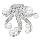 &quot;Octopus&quot; South Sea Pearl &amp; Diamond Brooch