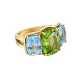 Peridot & Blue Topaz Three-Stone Ring