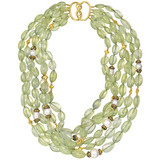 Multi-Strand Prehnite Bead Necklace with 18k Gold Clasp