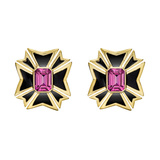 "Pink Tourmaline & Black Enamel ""Maltese Cross"" Earrings"
