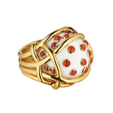 """Polka Dot"" Cocholong Ring with Red Coral"