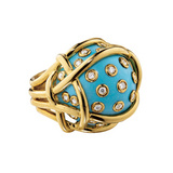 """Polka Dot"" Turquoise & Diamond Ring"