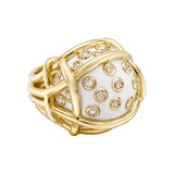 &quot;Polka Dot&quot; Cocholong &amp; Diamond Ring