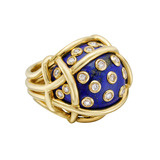 """Polka Dot"" Lapis & Diamond Ring"