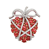 "Ruby ""Wrapped Heart"" Brooch"