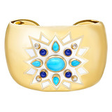 &quot;Sunburst&quot; Turquoise &amp; Lapis Cuff Bracelet