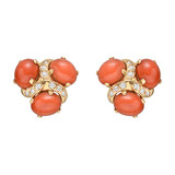 "​""Three Stone"" Cabochon Coral & Diamond Earclips"