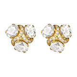 White Topaz Three Stone Earclips with Diamond