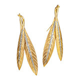 "18k Gold & Diamond ​""Tiara"" Feather Pendant Earrings"