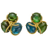 Green & Blue Tourmaline Rope Cluster Earrings