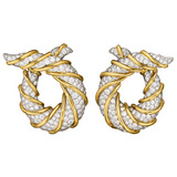 "18k Yellow Gold & Diamond ""Twisted Horn"" Earrings"