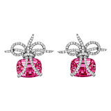 """Wrapped"" Rubellite & Diamond Earrings"