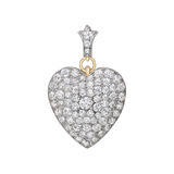 Victorian Diamond Heart Pendant Brooch