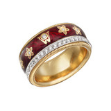 &quot;Cherry&quot; Diamond &amp; Enamel Spinning Band Ring