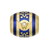 "​18k Yellow Gold & Blue Enamel ""Paloma"" Rondel"