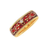 &quot;Hibiscus&quot; Red Enamel Spinning Band Ring