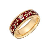 "Red Enamel ""Hibiscus"" Ring"