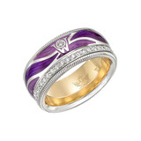 "Diamond & Enamel ​​""Purple Wings"" Ring"