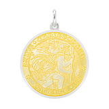 Medium Silver St. Christopher Medal with Yellow Enamel