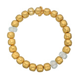 18k Yellow Gold & Blue Topaz Bead Bracelet