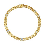 ​18k Yellow Gold & Diamond Curb-Link Bracelet