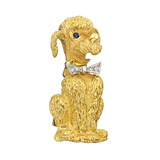 18k Gold Dog Pin with Diamond Bow Tie