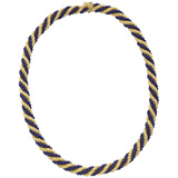 18k Yellow Gold & Lapis Bead Rope-Twist Necklace