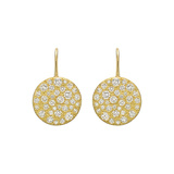 18k Yellow Gold & Diamond Circle Drop Earrings