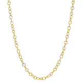 ​18k Yellow Gold Oval & Round Link Long Necklace